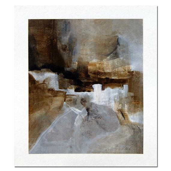 Abstract Painting Brown Gray White Black Art Acrylic On Paper For Dwell Abstract Wall Art (Image 3 of 20)