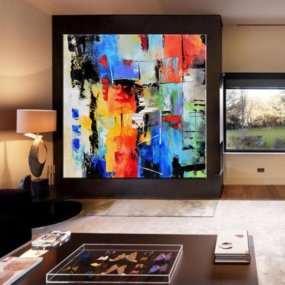 Abstract Painting, Contemporary Wall Art, Extra Large Abstract Pertaining To Extra Large Abstract Wall Art (Image 3 of 20)