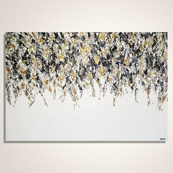Abstract Painting Gold Black And White Abstract Art Inside Black And Gold Abstract Wall Art (Image 4 of 20)