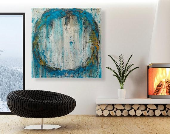 Abstract Painting – Large Original Circle Wall Art – 32X32 Modern Throughout Abstract Circles Wall Art (Image 5 of 20)