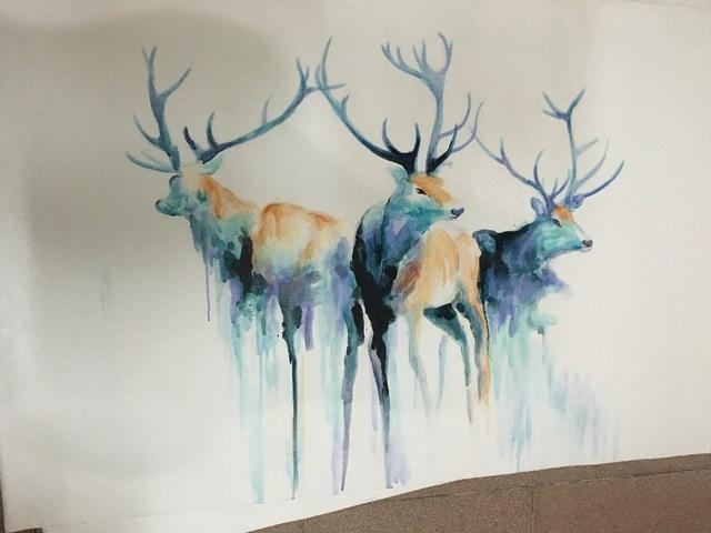 Abstract Painting Watercolor Blue Classic Horse Deer Goat Wall Art Intended For Abstract Deer Wall Art (View 5 of 20)