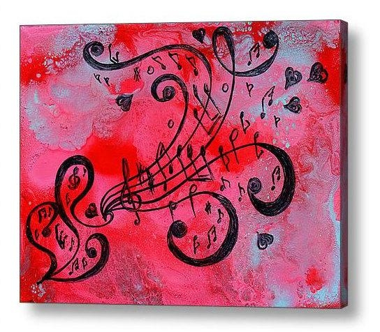 Abstract Print, Music Painting, Abstract Music Art Print, Love Art Intended For Abstract Musical Notes Piano Jazz Wall Artwork (Image 5 of 20)