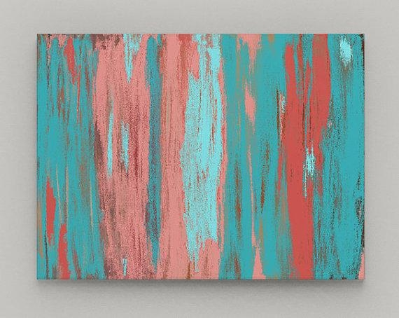 Abstract Wall Art Canvas Print Coral Teal Aqua Art With Aqua Abstract Wall Art (View 6 of 20)