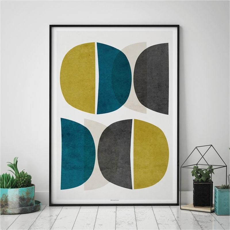 Abstract Wall Art – Modern Art Prints – Minimalist Print – Yellow Intended For Abstract Wall Art Prints (Image 6 of 20)