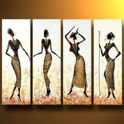 African Girls Dance In Gold Oil Painting Abstract Wall Art With With Regard To Abstract African Wall Art (View 8 of 20)