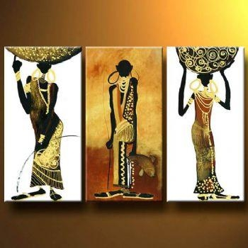 African Tribute Modern Canvas Wall Art Abstract Oil Painting Inside Abstract African Wall Art (Image 11 of 20)