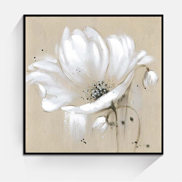 Aliexpress : Buy White Color Abstract Flower Wall Art Oil Pertaining To Abstract Flower Wall Art (View 10 of 20)