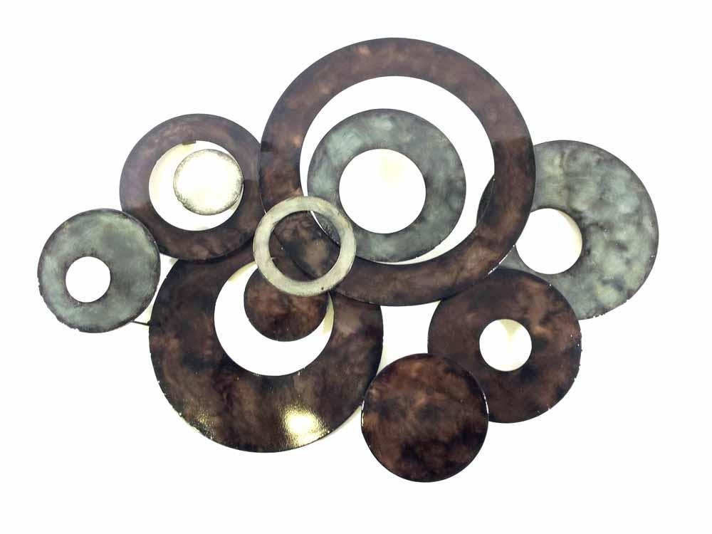 Amazing Metal Wall Art Bronze Linked Circle Disc Abstract Pertaining To Abstract Angkor Swirl Metal Wall Art (Image 2 of 20)