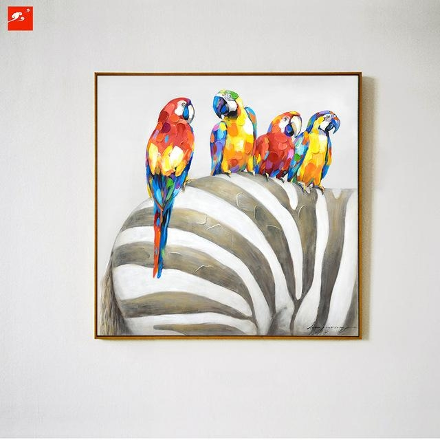 Animal Wall Art Elephant Zebra Abstract Parrot Hand Painted Oil With Abstract Animal Wall Art (Image 7 of 20)