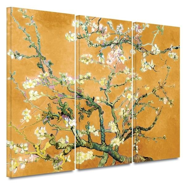 Art Wall Vincent Van Gogh '3 Piece Almond Blossom Interpretation Inside Almond Blossoms Vincent Van Gogh Wall Art (Image 6 of 20)