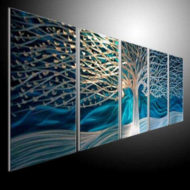 Artwork Metal Wall Art Painting Abstract Wall Artwork Contemporary With Aqua Abstract Wall Art (View 17 of 20)