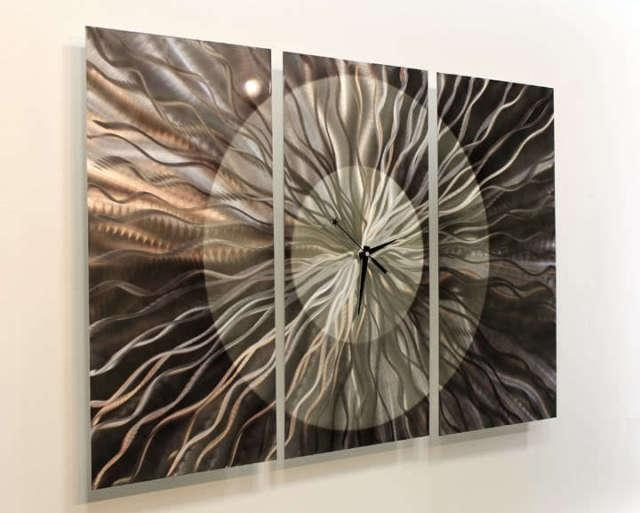 Awesome Abstract Modern Metal Large Wall Clock Art Sculpture Home Within Abstract Clock Wall Art (View 14 of 20)