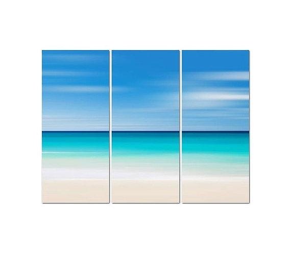 Beach Canvas Art, 3 Panel Triptych, Large Abstract Ocean Art For Abstract Beach Wall Art (View 19 of 20)