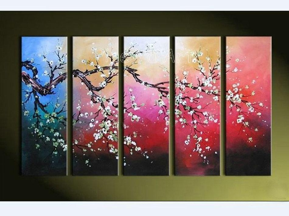 Best Quality Modern Abstract Wall Canvas Art Large Decorative Intended For Cherry Blossom Oil Painting Modern Abstract Wall Art (View 5 of 20)