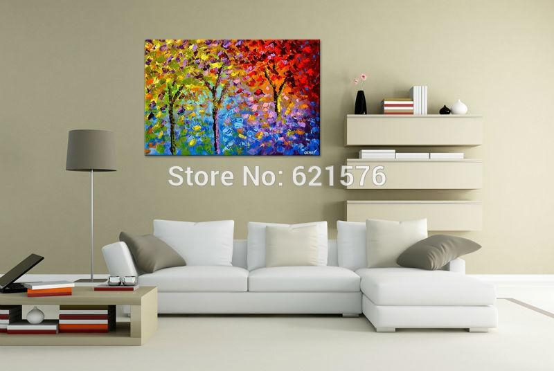 Big Hand Painted Modern Living Room Home Decor Abstract Wall Art With Regard To Colourful Abstract Wall Art (Image 4 of 20)