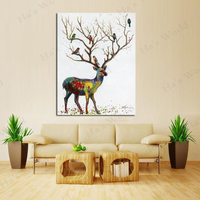 Big Size Hand Painted Modern Wall Art Pictures Home Decoration With Abstract Deer Wall Art (View 20 of 20)