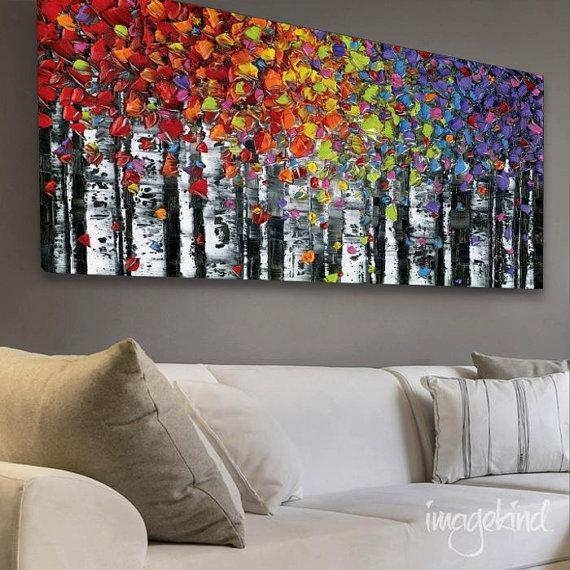 Birch Trees Abstract Wall Art Print Largemodernhouseart | Art Pertaining To Big Abstract Wall Art (Image 3 of 20)