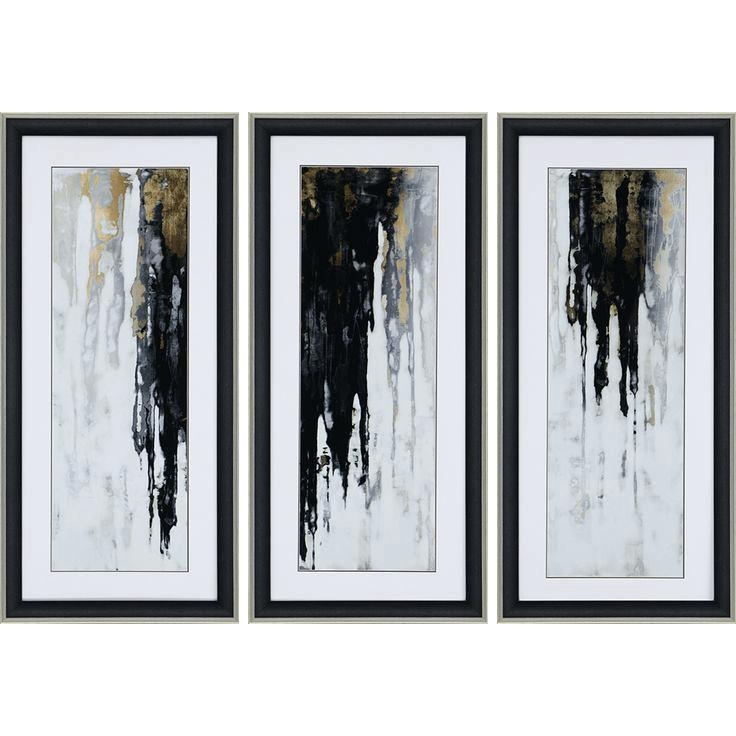 Black Abstract Wall Art Cascades Of Black And Gold Form A Striking Inside Black And Gold Abstract Wall Art (Image 6 of 20)