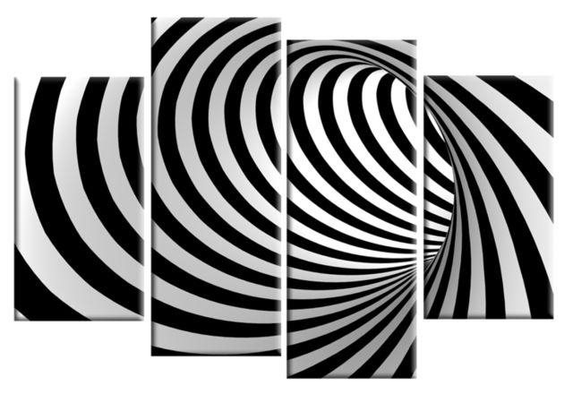Black White Mind Blowing Abstract 4 Panel Wall Art 40 Inch 101Cm In Black And White Abstract Wall Art (View 11 of 20)