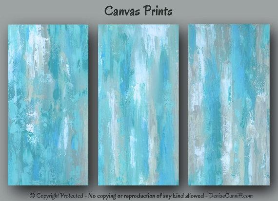 Blue Abstract Wall Art, Large Three Piece Canvas Print Set With Aqua Abstract Wall Art (View 2 of 20)