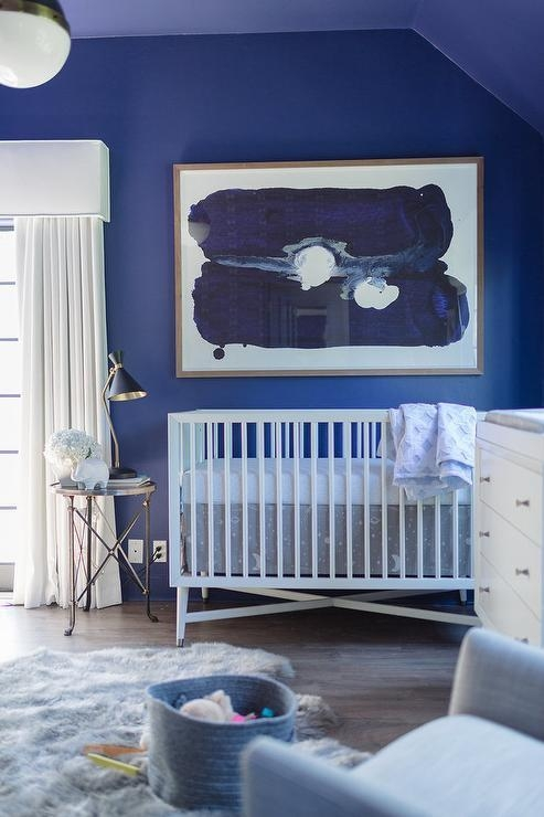 Blue Nursery With Cornice Box And Curtains – Contemporary – Nursery With Regard To Dwell Abstract Wall Art (Image 5 of 20)