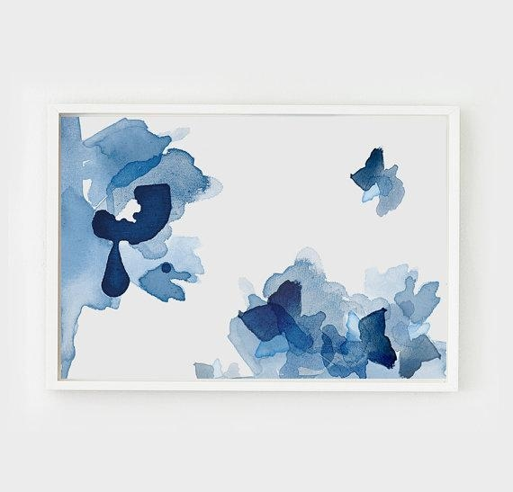 Blue Tones Large Abstract Wall Art For Blue Abstract Wall Art (Image 10 of 20)