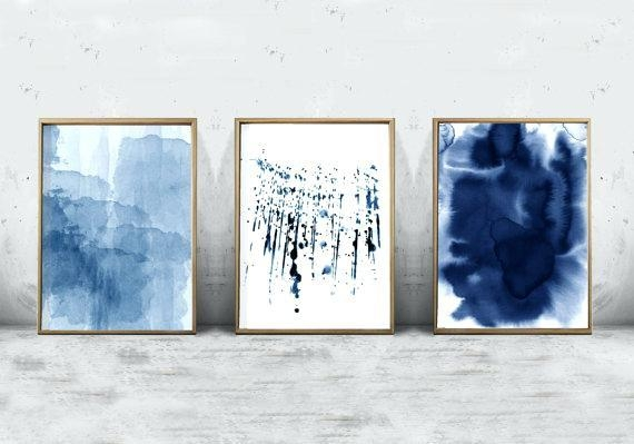Blue Wall Art Blue Butterfly Painting Art Wall Art Canvas Art Blue Regarding Dark Blue Abstract Wall Art (Image 8 of 20)