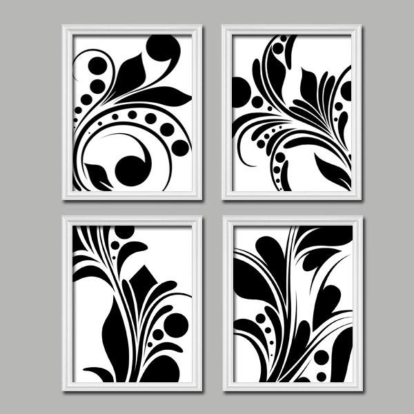 Bold Swirl Black & White Flourish Design Set Of 4 Abstract Prints Regarding Bold Abstract Wall Art (Image 10 of 20)