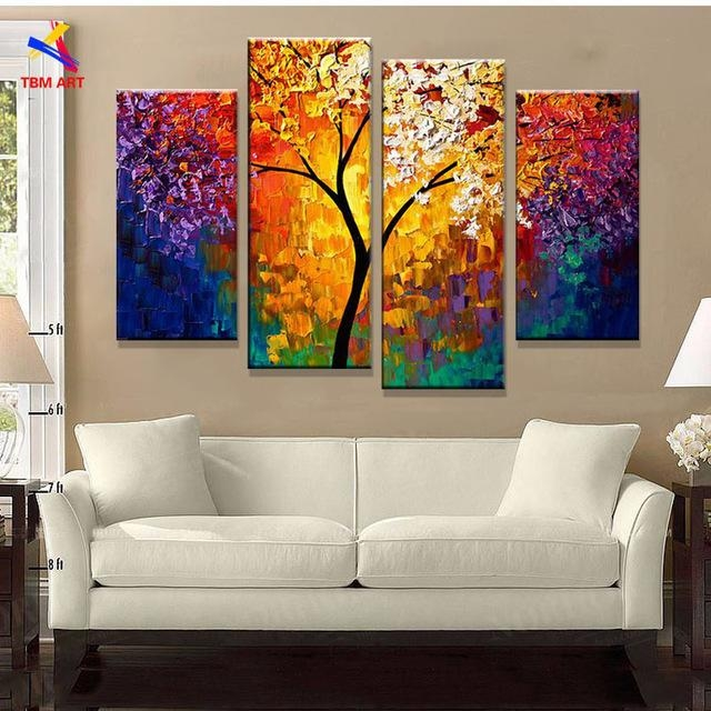Bright Life Tree Picture Painting Handmade Modern Abstract Oil Throughout Bright Abstract Wall Art (Image 9 of 20)