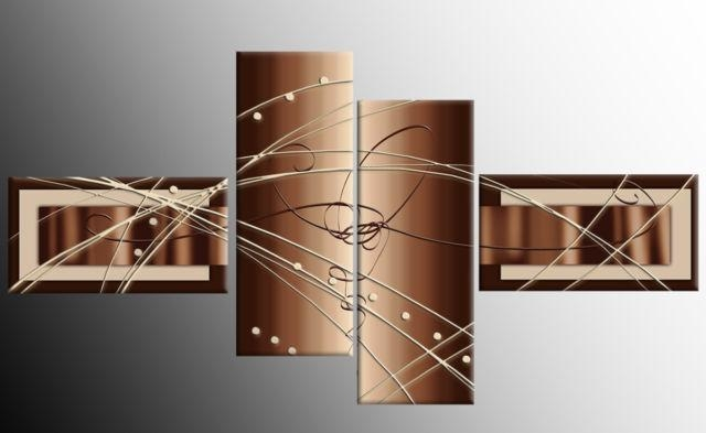 Brown Beige White Wide Stretch 4 Panel Abstract Canvas Wall Art Regarding Brown Abstract Wall Art (Image 7 of 20)