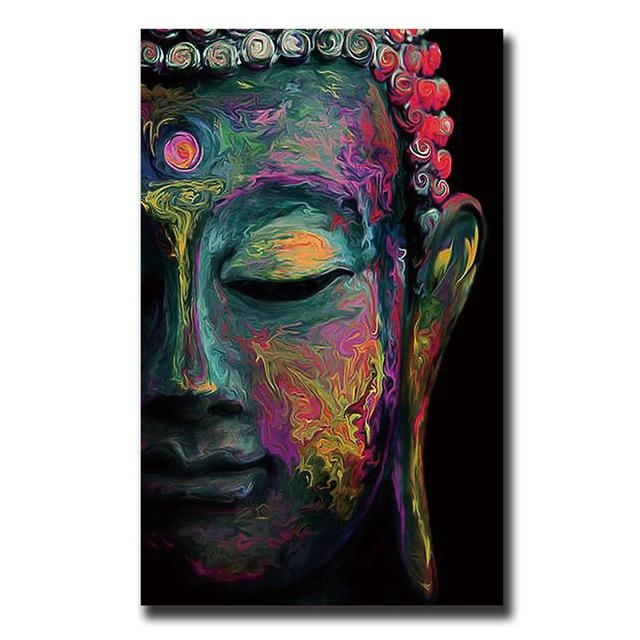 Buddha Canvas Painting Wall Art Poster Meditation Abstract Cheap In Abstract Buddha Wall Art (View 3 of 20)