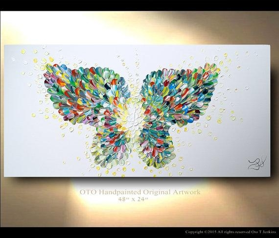 Butterfly Textured Modern Contemporary Abstract Custom Regarding Abstract Butterfly Wall Art (View 18 of 20)