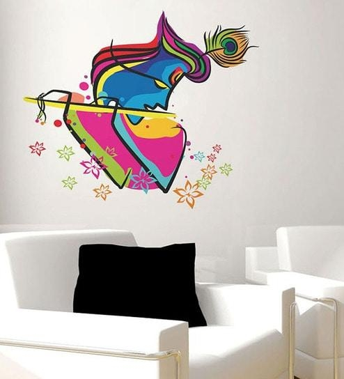Buy Walltola S Abstract Art Krishna Pvc Vinyl Wall Sticker Online In Abstract Art Wall Decal (Image 10 of 20)