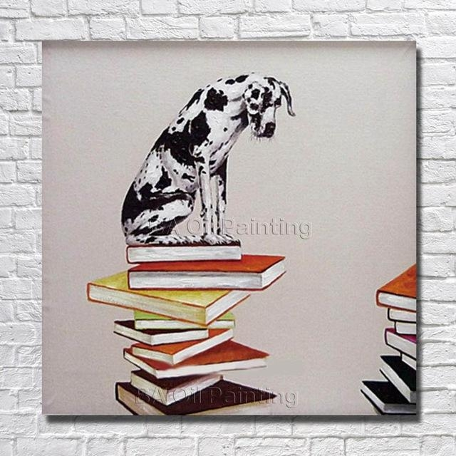 Canvas Art Cheap 100% Hand Painted Modern Abstract Dog On The Book Inside Abstract Dog Wall Art (Image 5 of 20)