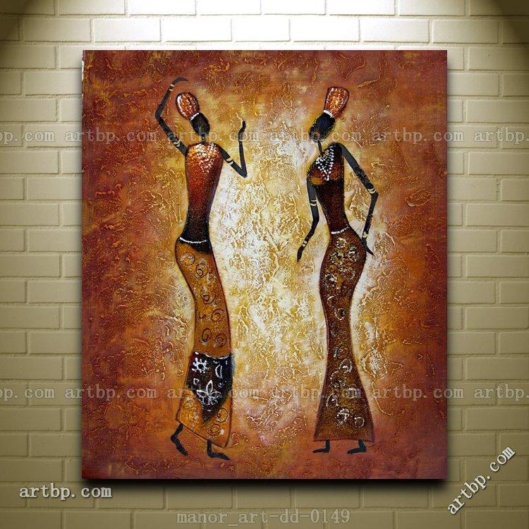 Canvas Wall Art Abstract Africa Oil Painting Modern Decor Hand Throughout Abstract African Wall Art (Image 13 of 20)