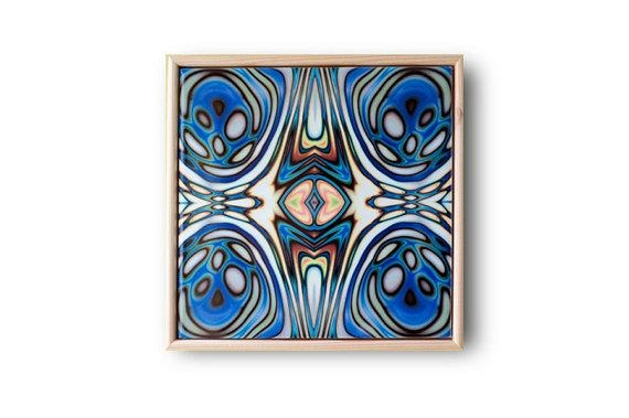 Ceramic Tile Art Abstract Wall Art Art Nouveau Style Blue Regarding Abstract Ceramic Wall Art (Image 13 of 20)