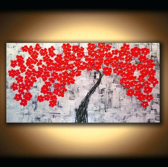 Cherry Blossom Canvas Wall Art 4 Piece Wall Art Painting Print On Pertaining To Abstract Cherry Blossom Wall Art (Image 10 of 20)