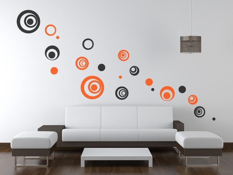 Circle/polka Dot Wall Decals/wall Art Stickers – Vinyl Abstract In Abstract Circles Wall Art (Image 7 of 20)