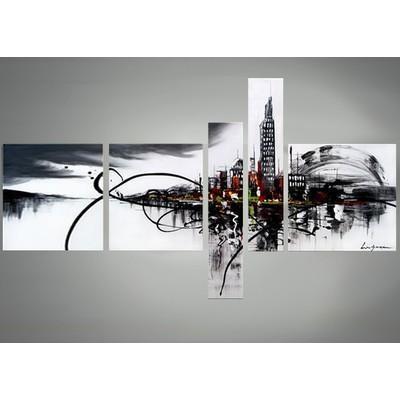 Cityscape Canvas Art – Black And White Abstract Wall Decor  63 X 33In In Abstract Wall Art Canada (Image 8 of 20)