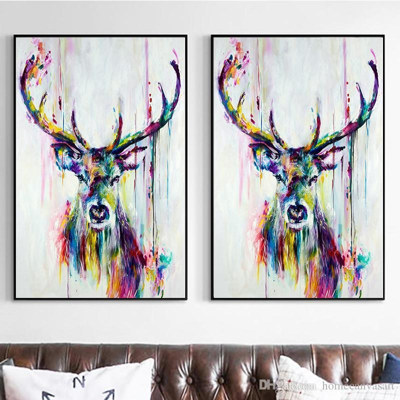 Colorful Abstract Oil Paintings Modern Animals Deer Print Canvas Intended For Abstract Deer Wall Art (View 3 of 20)