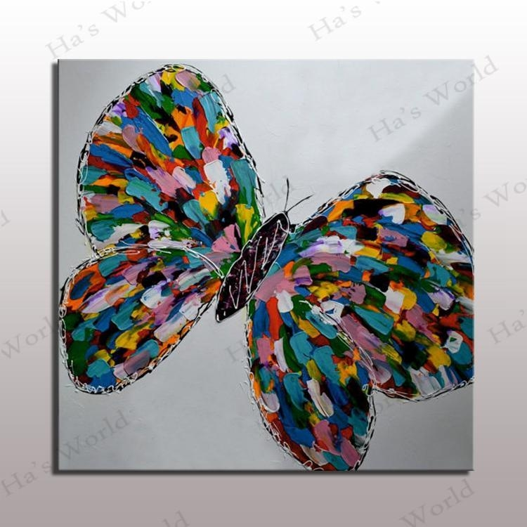 Colorful Butterfly Oil Painting Modern Abstract Butterfly Canvas Within Abstract Butterfly Wall Art (View 19 of 20)
