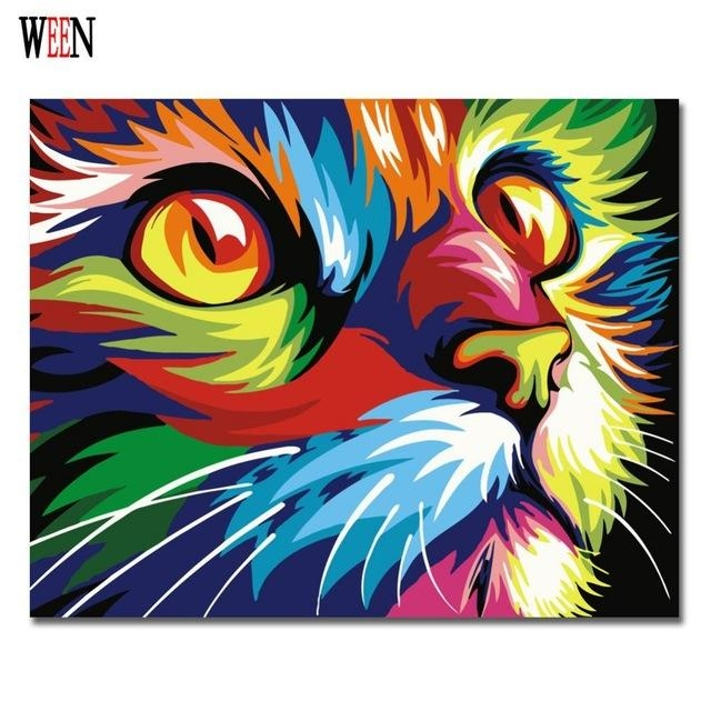 Colorful Cat Abstract Diy Digital Paintingnumbers Modern Throughout Abstract Animal Wall Art (Image 11 of 20)