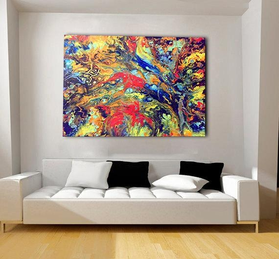 Colorful, Extra Large Canvas, Oversized Print, Bohemian Decor Pertaining To Abstract Wall Art Prints (Image 11 of 20)