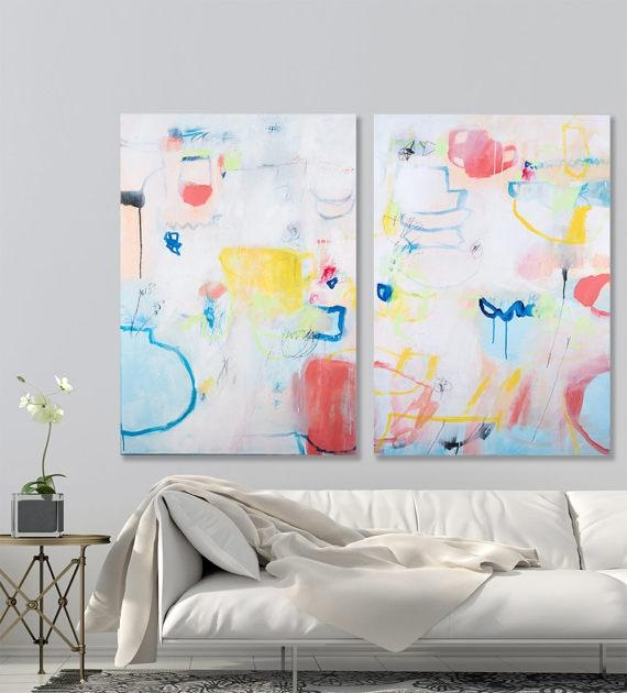 Colorful Modern Painting Large Wall Art 55X40 White Blue Coral Red Intended For Bold Abstract Wall Art (Image 12 of 20)