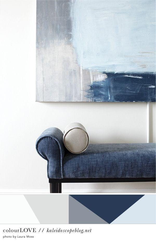 Colour Love // 54 | Color Paints, Hall Interior Design And Bench Seat Regarding Dark Blue Abstract Wall Art (Image 9 of 20)