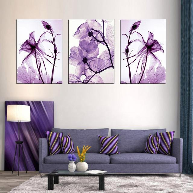 Combined 3 Pcs/set New Purple Flower Wall Art Painting Prints On Regarding Abstract Flower Wall Art (Image 8 of 20)
