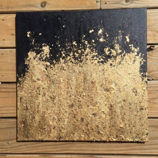 Contemporary Gold Leaf Painting – Original Abstract Modern With Regard To Black And Gold Abstract Wall Art (Image 7 of 20)
