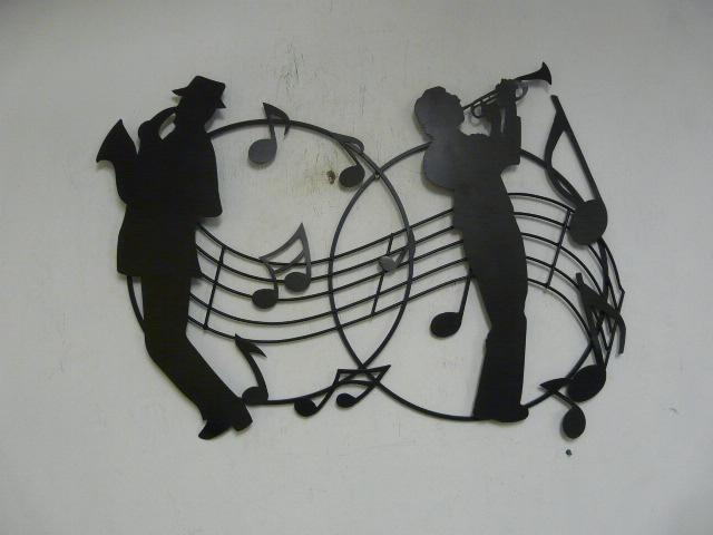 """Contemporary Metal Wall Art """"jazz Musicians Silhouette Inside Abstract Musical Notes Piano Jazz Wall Artwork (View 15 of 20)"""