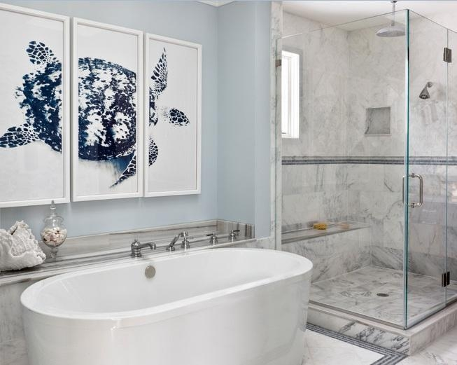 Cool Wall Art For Modern Bathrooms With White Granite Floor Tiles With Abstract Wall Art For Bathroom (Image 9 of 20)