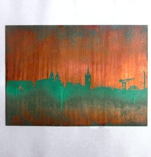 Copper Wall Art Abstract Modern Triptych Painting Copper Wall Art Pertaining To Large Abstract Wall Art Australia (Image 5 of 20)